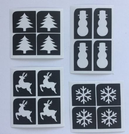 CHRISTMAS MINI  GLITTER TATTOO STENCILS